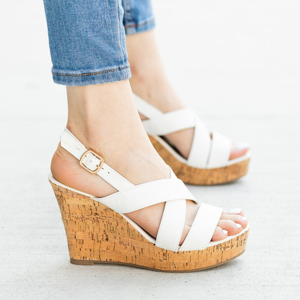 Womens Gorgeous Criss Cross Cork Wedges - Fashion Focus - White / 5