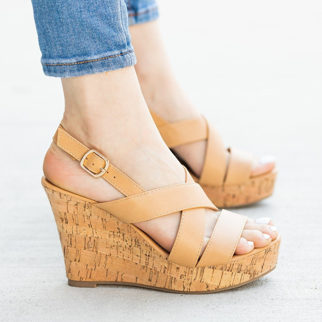 Womens Gorgeous Criss Cross Cork Wedges - Fashion Focus
