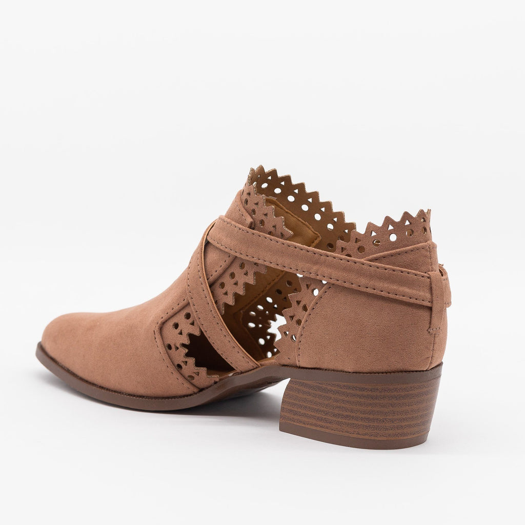 Womens Gorgeous Cutout Jagged Edge Booties - Qupid Shoes