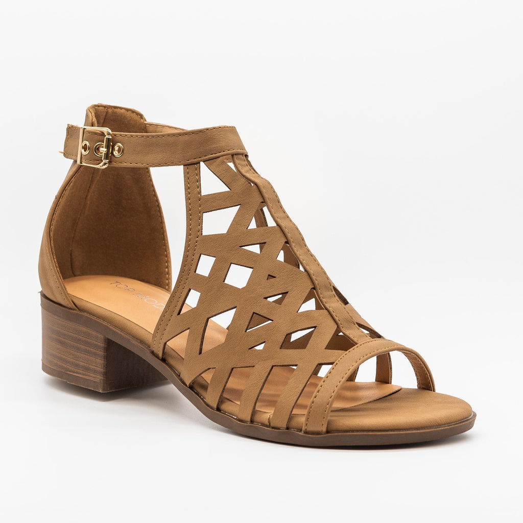 Womens Gorgeous Design Low Heels - Top Moda - Tan / 5