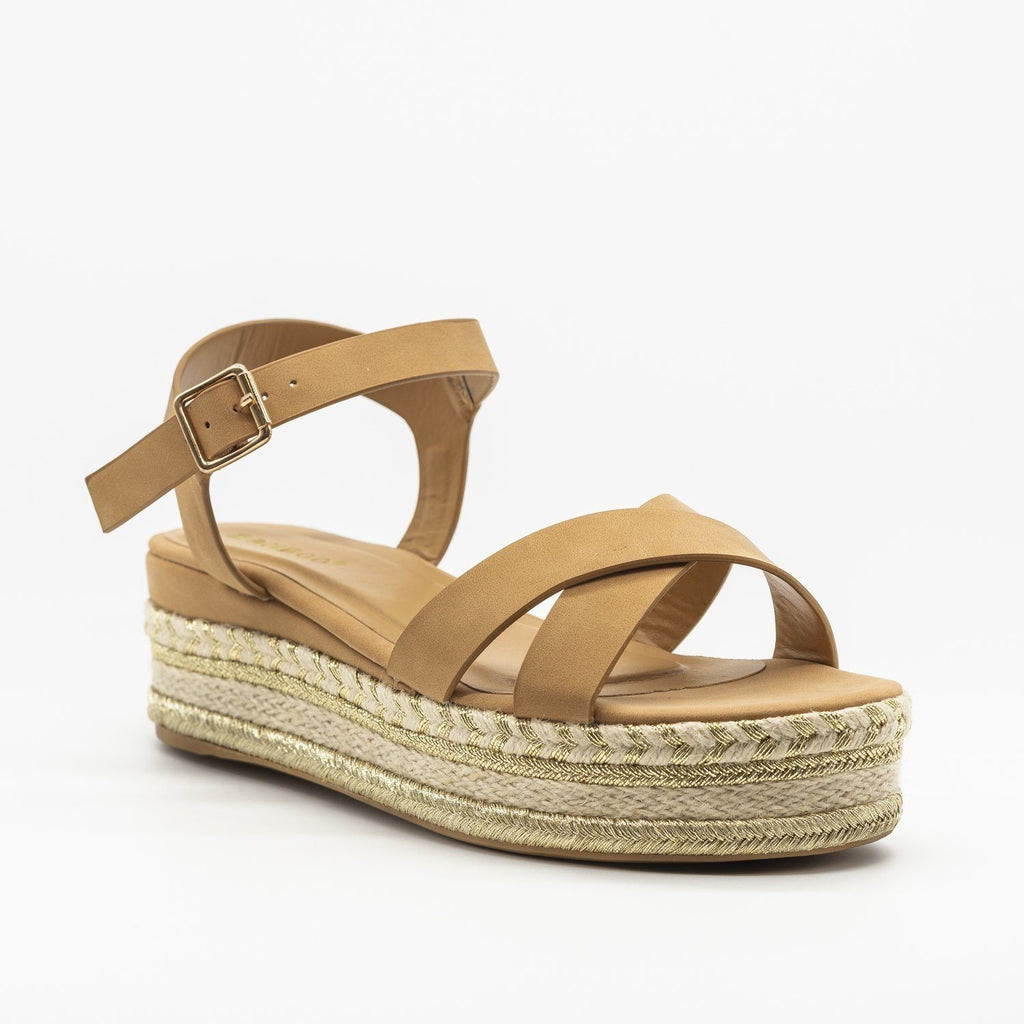 Womens Gorgeous Espadrille Platform Sandals - Bamboo Shoes - Camel / 5
