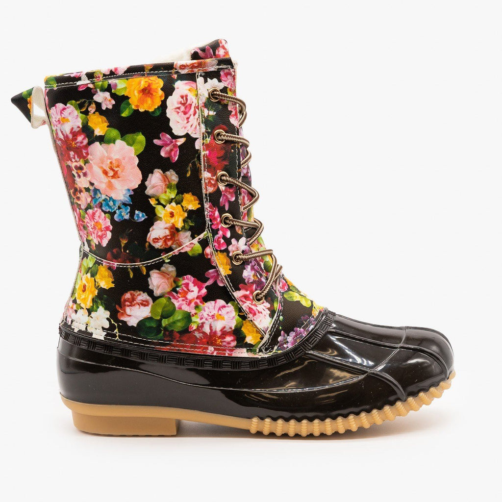 Womens Gorgeous Floral Duck Boots - Via Pinky