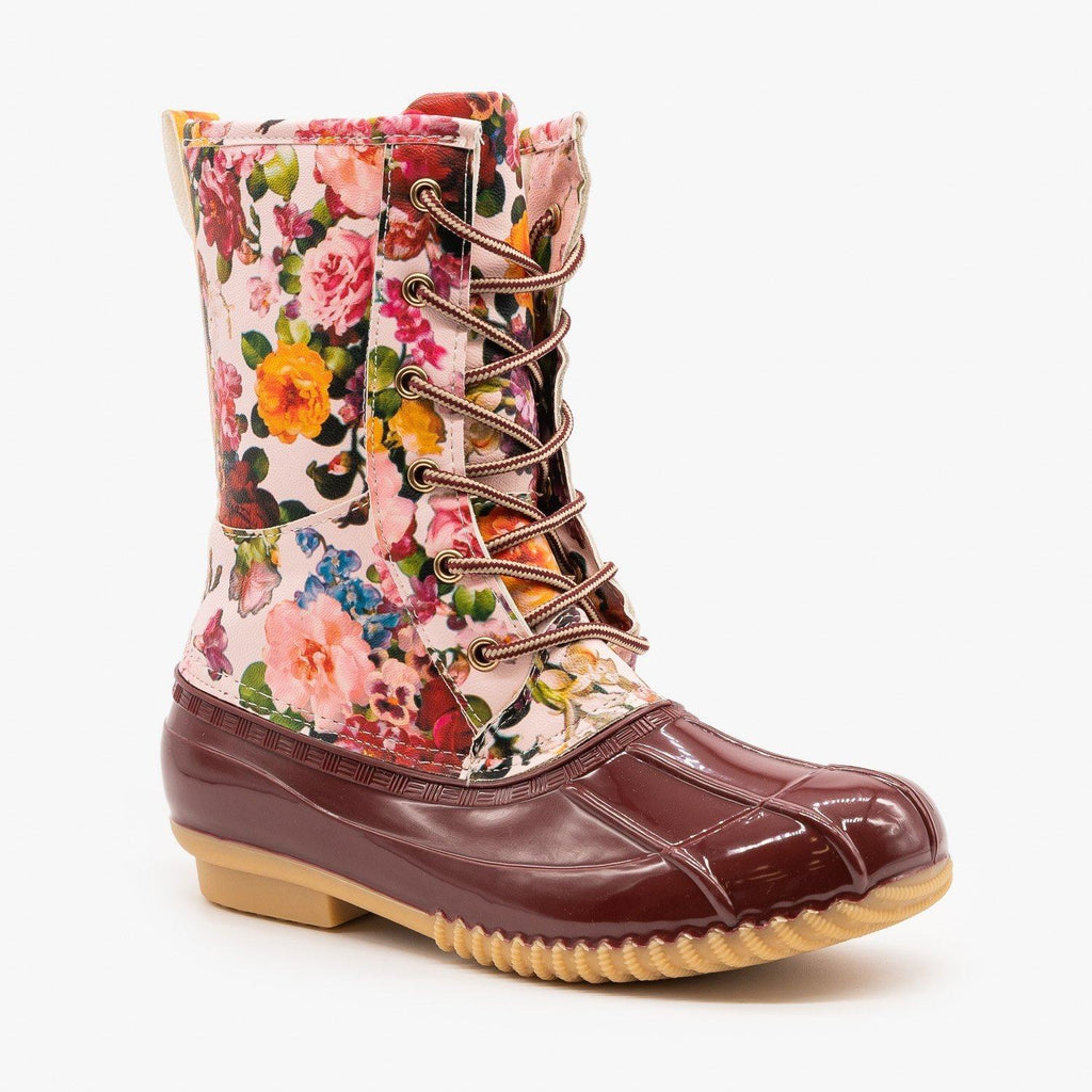 Womens Gorgeous Floral Duck Boots - Via Pinky - Wine / 5