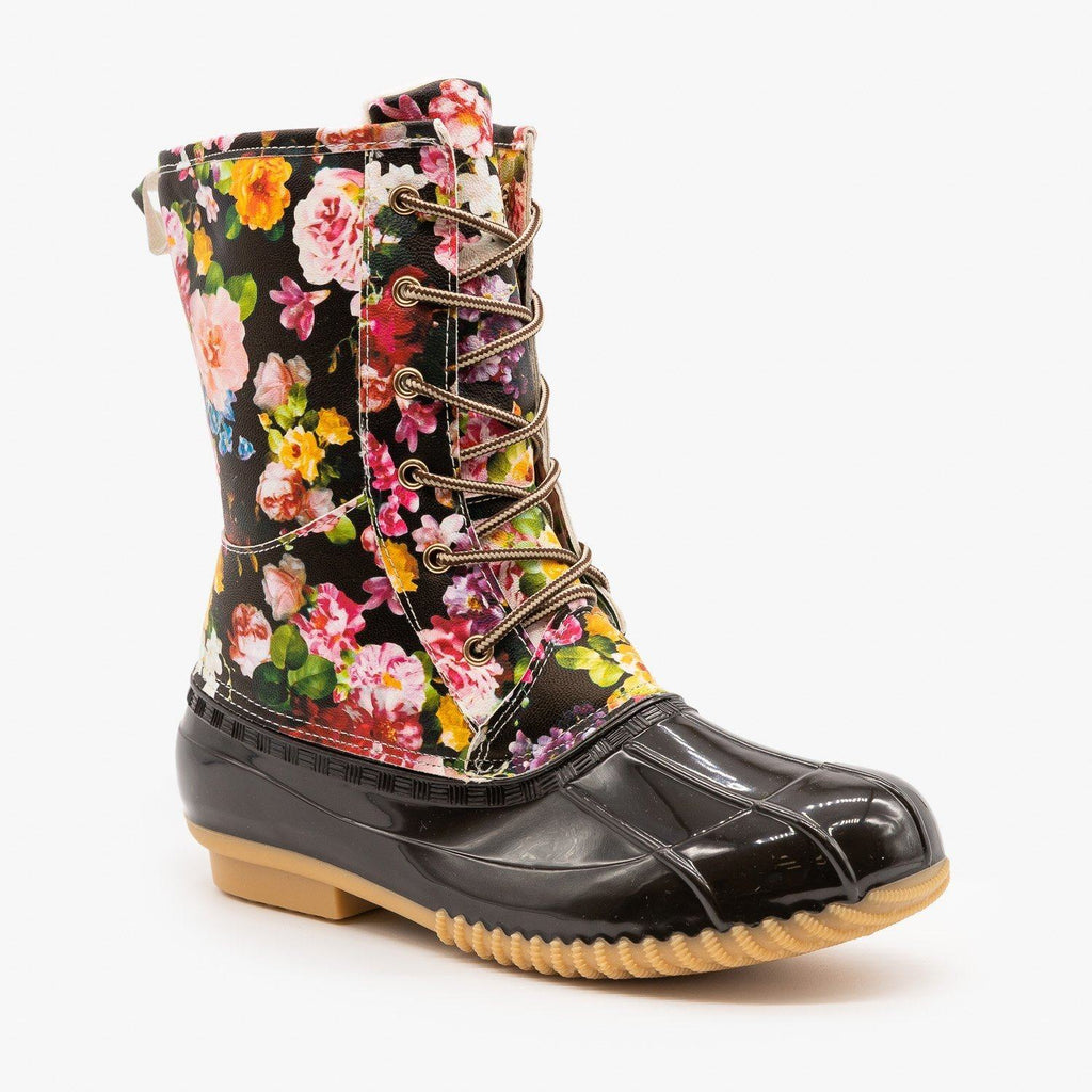 Womens Gorgeous Floral Duck Boots - Via Pinky - Brown / 5