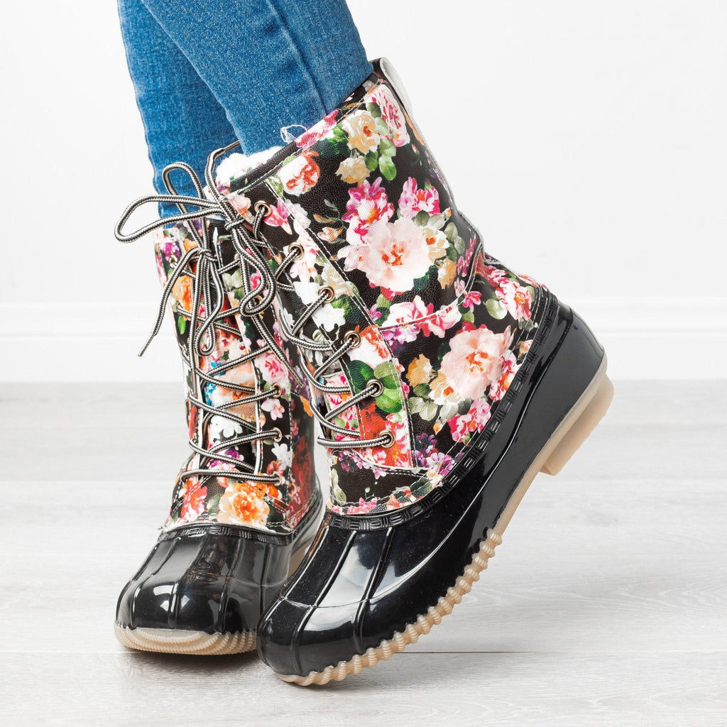 Womens Gorgeous Floral Duck Boots - Via Pinky - Black / 5