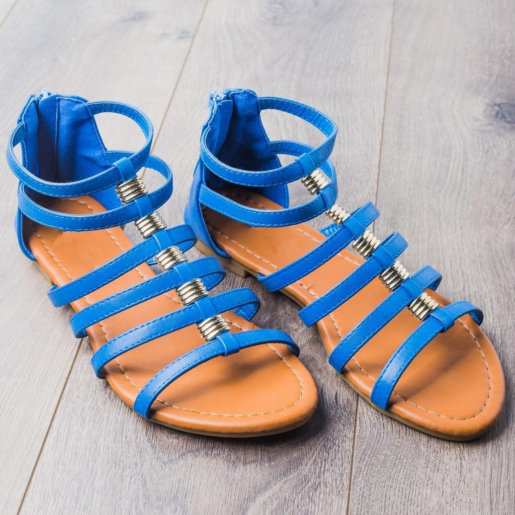 Womens Gorgeous Gladiator Sandals - Anna Shoes - Royal Blue / 5