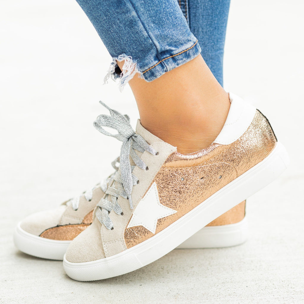 Womens Gorgeous Glitter Fashion Sneakers - Nature Breeze - Rose Gold / 5