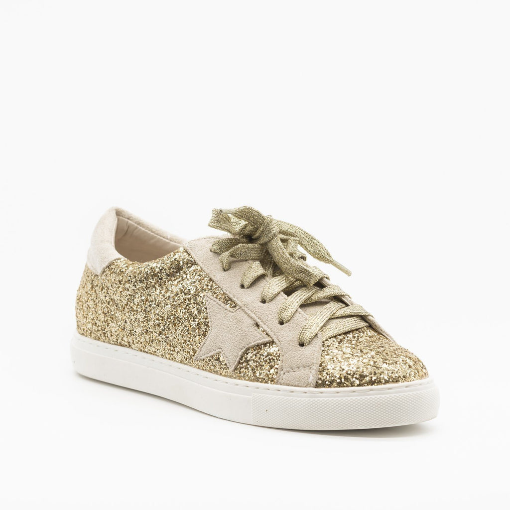 Womens Gorgeous Glitter Fashion Sneakers - Nature Breeze - Gold Glitter / 5