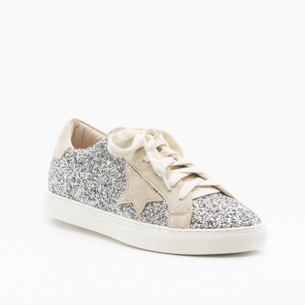 Womens Gorgeous Glitter Fashion Sneakers - Nature Breeze - Silver Glitter / 5