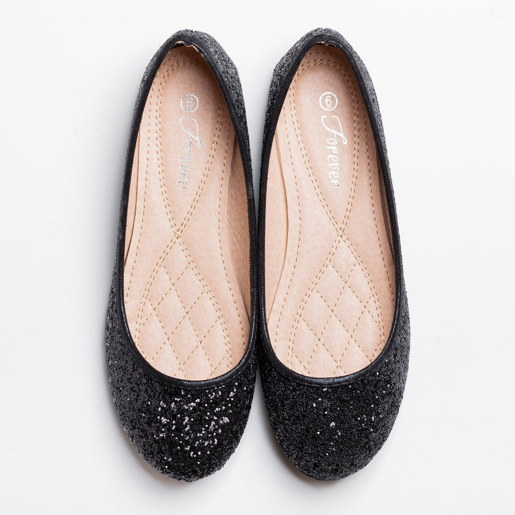 Womens Gorgeous Glitter Flats - Forever - Black / 5