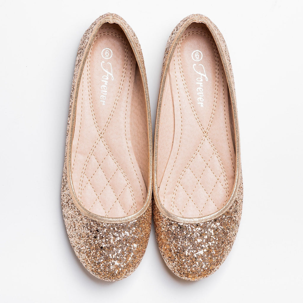 Womens Gorgeous Glitter Flats - Forever - Rose Gold / 5