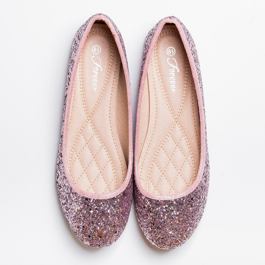 Womens Gorgeous Glitter Flats - Forever - Pink / 5