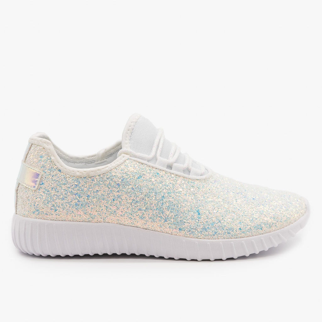 Womens Gorgeous Glitter Sneakers - Forever - White / 5