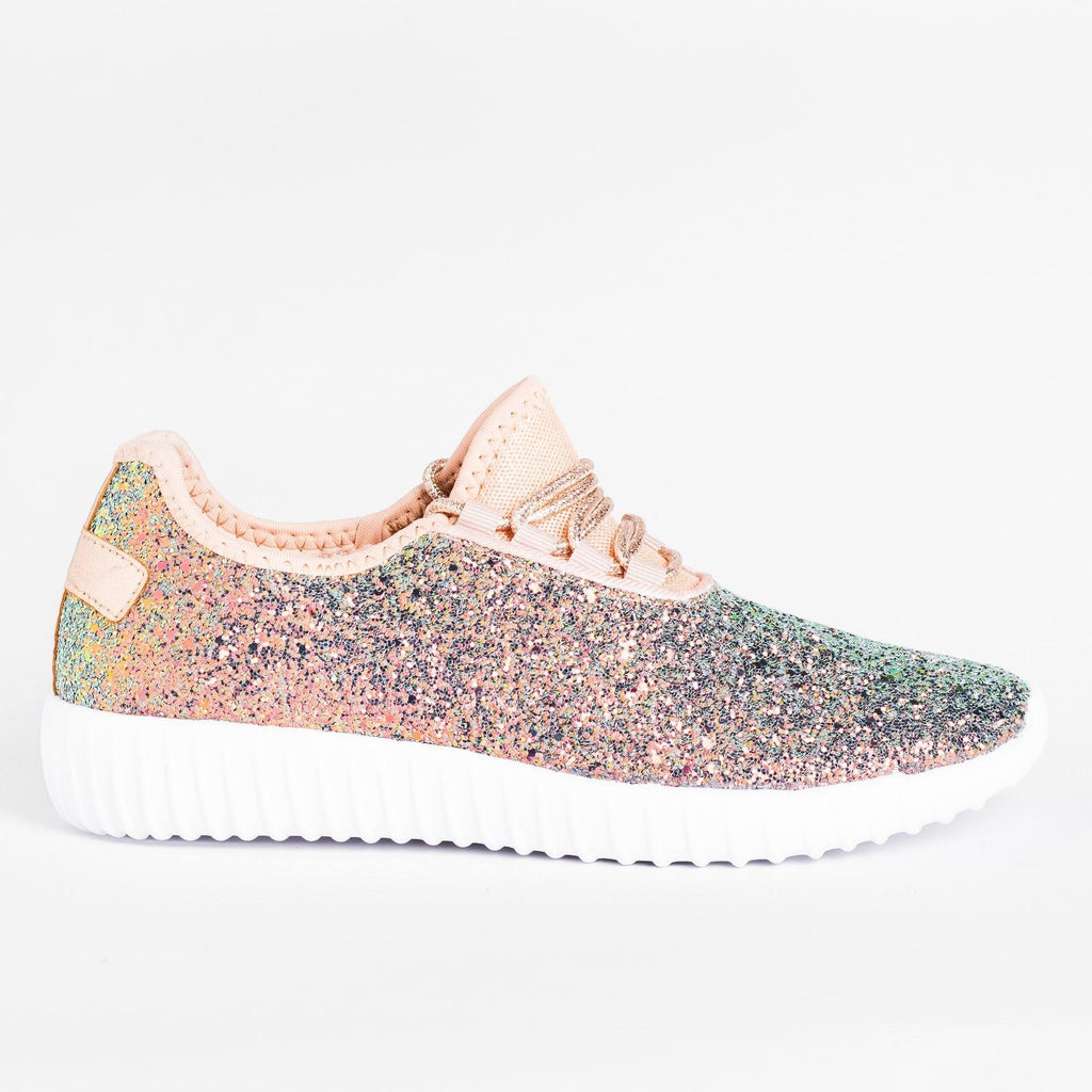 Womens Gorgeous Glitter Sneakers - Forever - Blue Mermaid / 5
