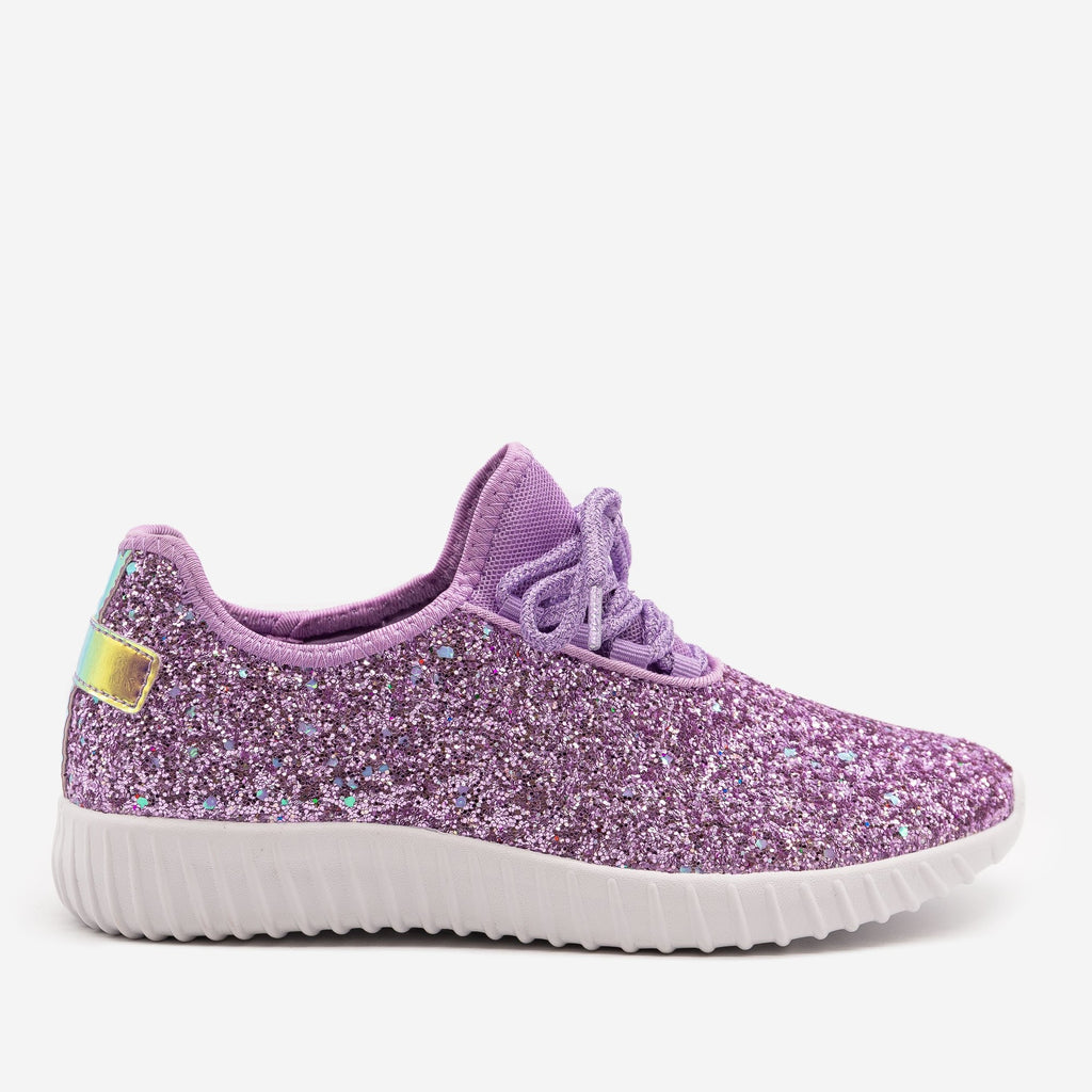 Women's Gorgeous Glitter Sneakers - Forever - Purple / 5