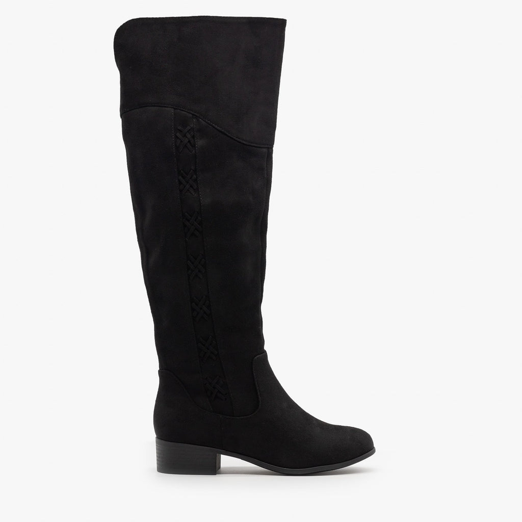Womens Gorgeous Knee High Boots - Soda Shoes - Black / 5