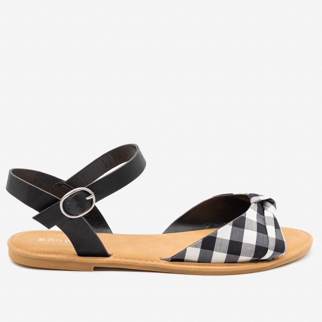 Women's Gorgeous Knotted Printed Sandals - Bamboo Shoes - Black Gingham / 5