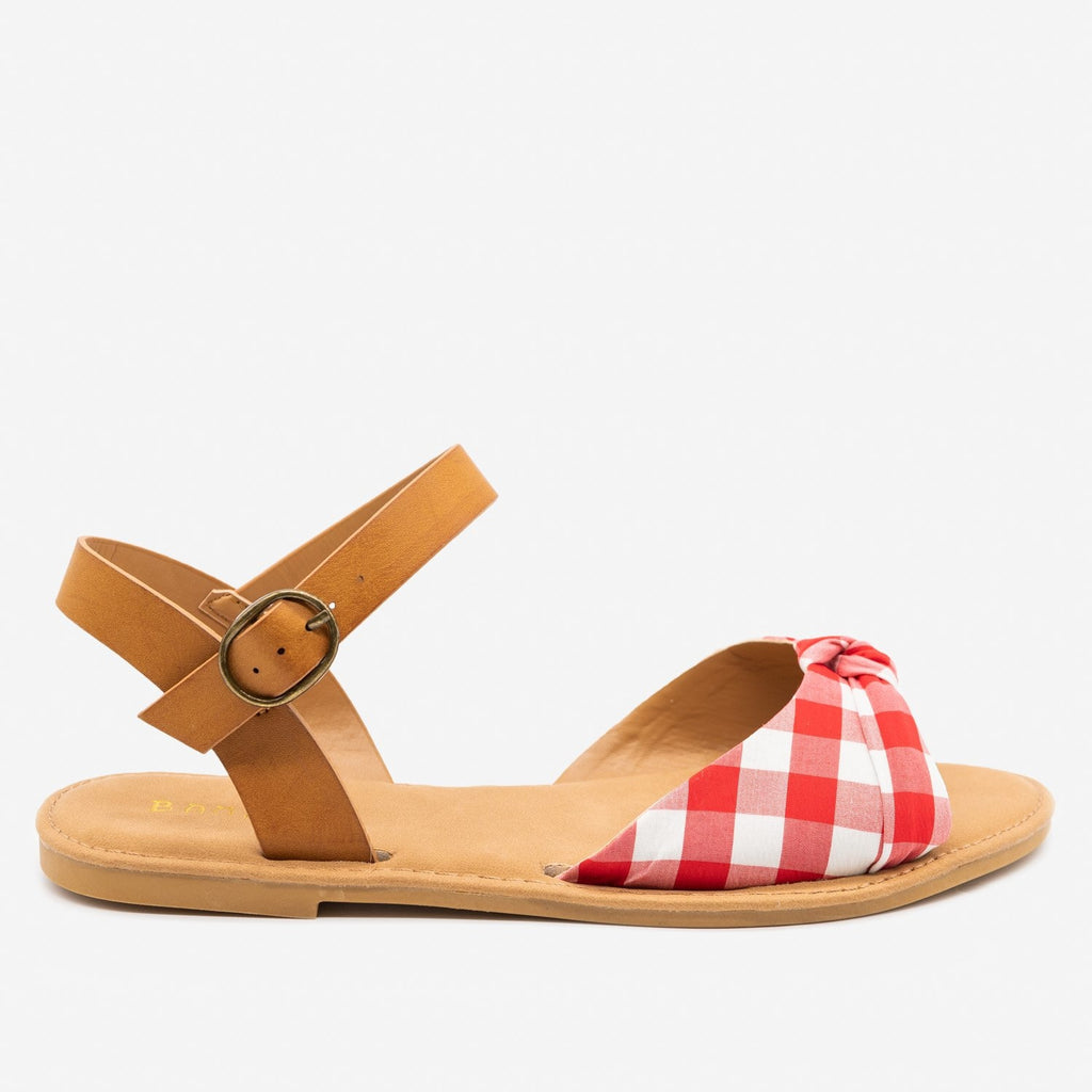 Women's Gorgeous Knotted Printed Sandals - Bamboo Shoes - Red Gingham / 5