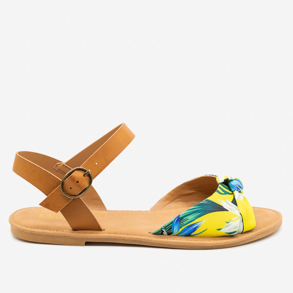 Women's Gorgeous Knotted Printed Sandals - Bamboo Shoes - Yellow / 5