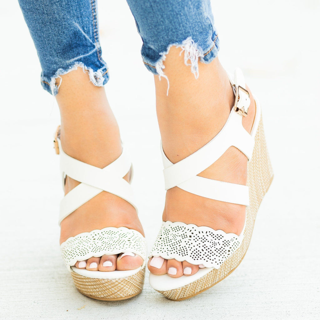 Womens Gorgeous Laser Cut Basketweave Wedges - Bamboo Shoes - White / 5