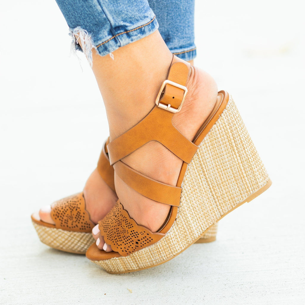 Womens Gorgeous Laser Cut Basketweave Wedges - Bamboo Shoes - Tan / 5