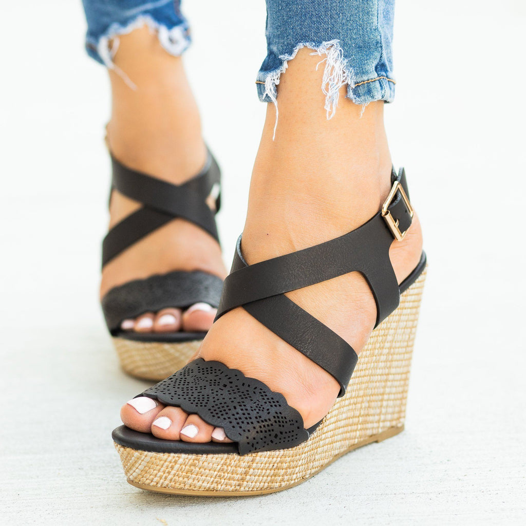 Womens Gorgeous Laser Cut Basketweave Wedges - Bamboo Shoes