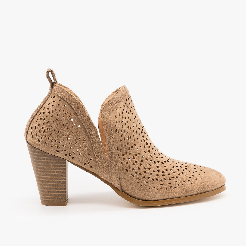 Womens Gorgeous Laser Cut Design Booties - AMS Shoes - Taupe / 5