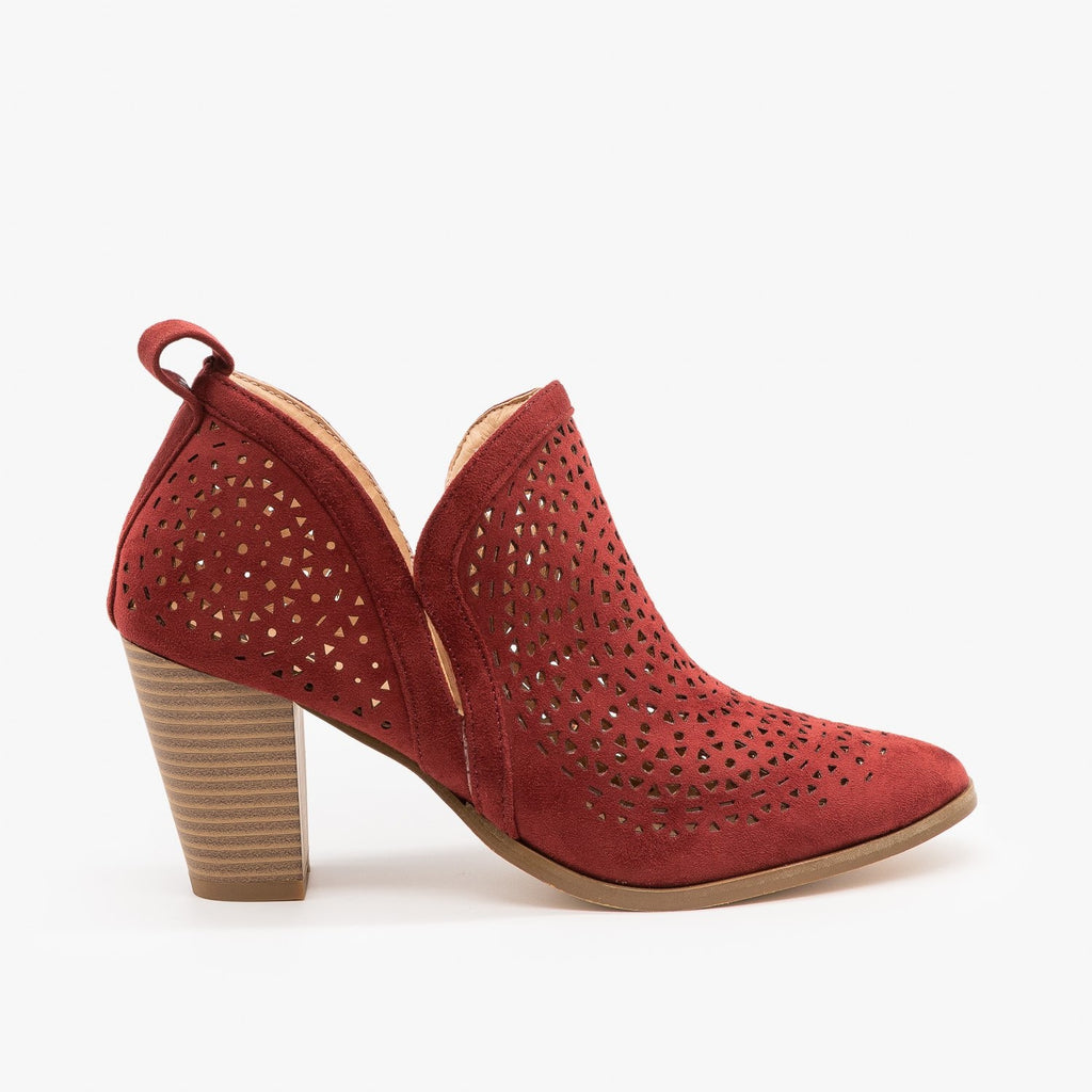 Womens Gorgeous Laser Cut Design Booties - AMS Shoes - Burgundy / 5