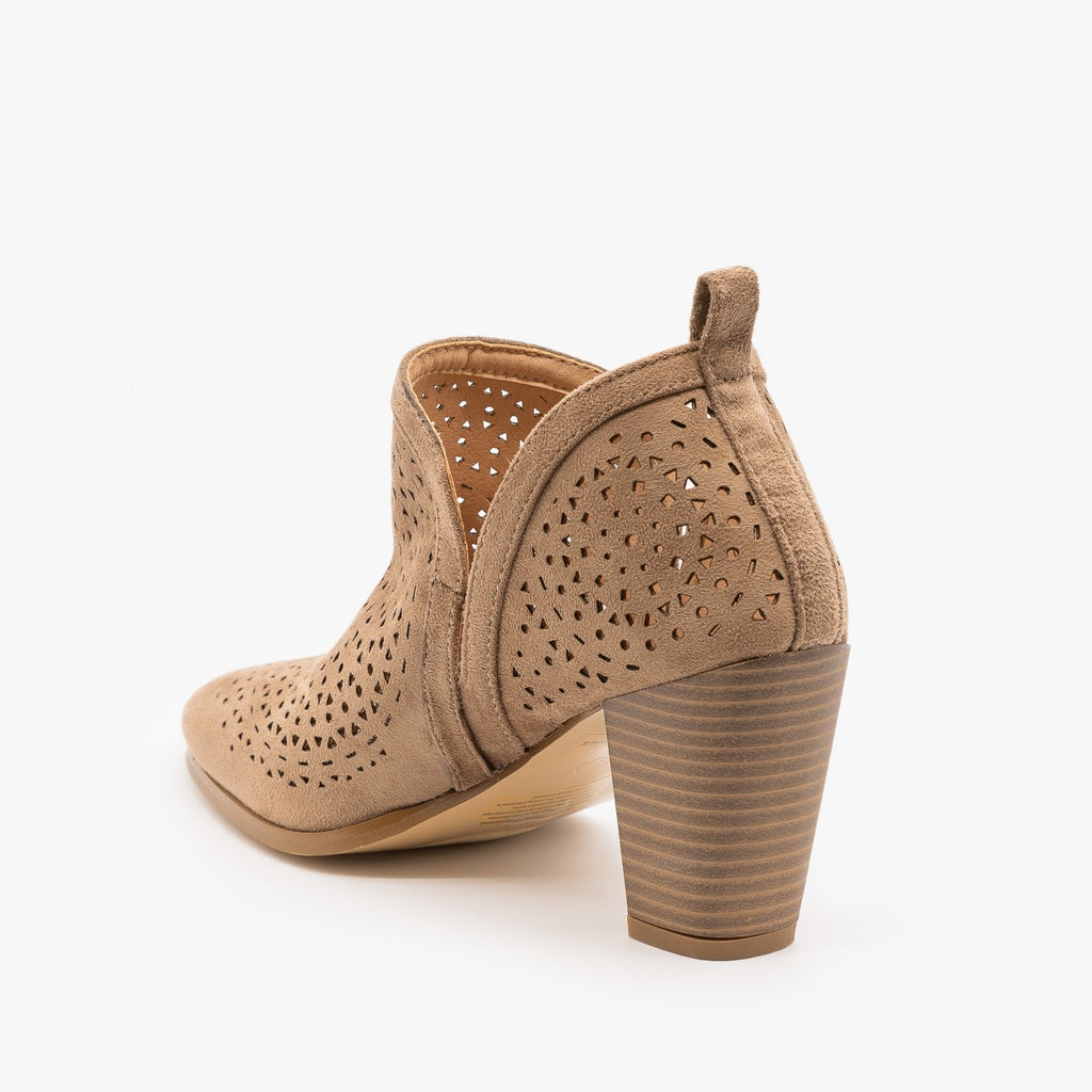 Womens Gorgeous Laser Cut Design Booties - AMS Shoes