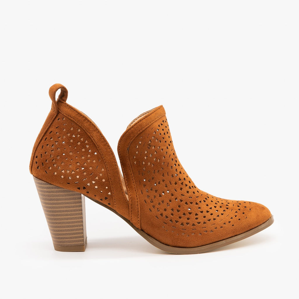 Womens Gorgeous Laser Cut Design Booties - AMS Shoes - Cognac / 5
