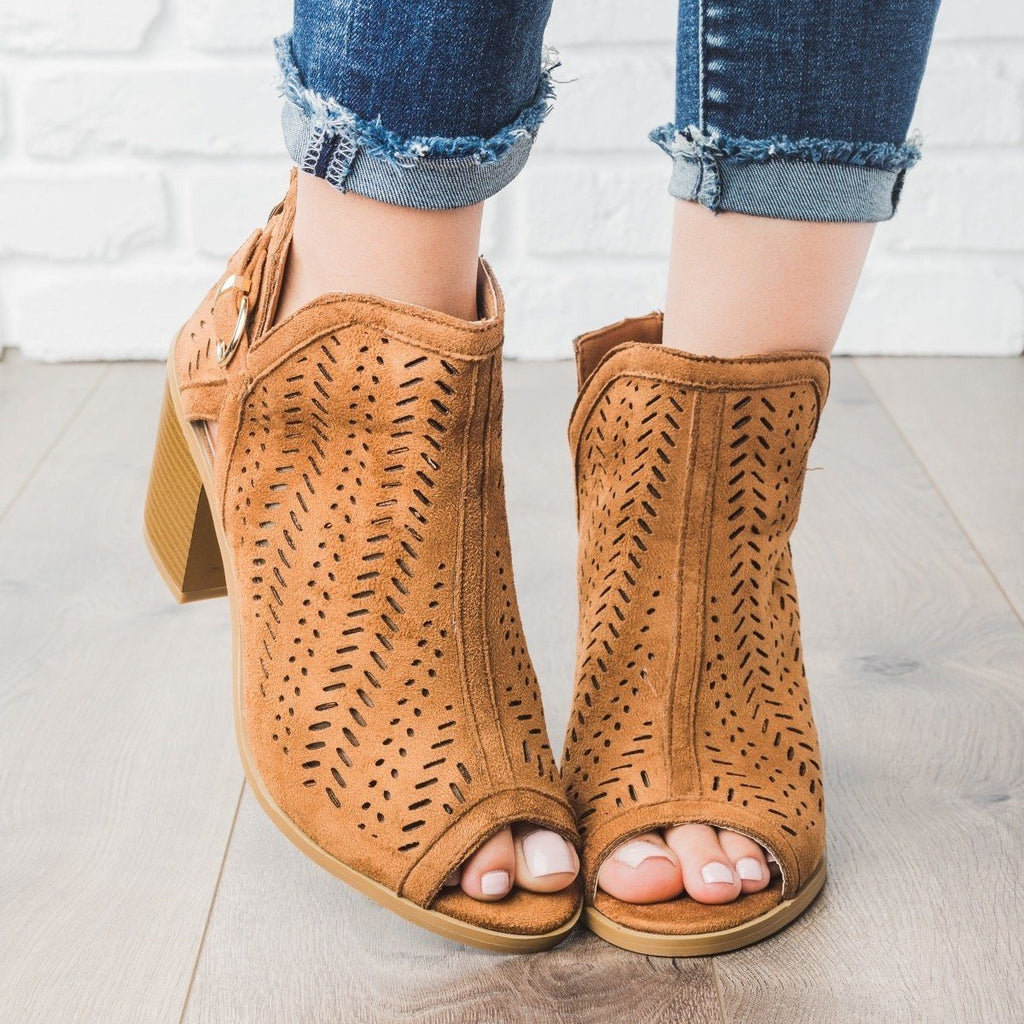 Womens Gorgeous Laser Cut Heel Booties - Forever
