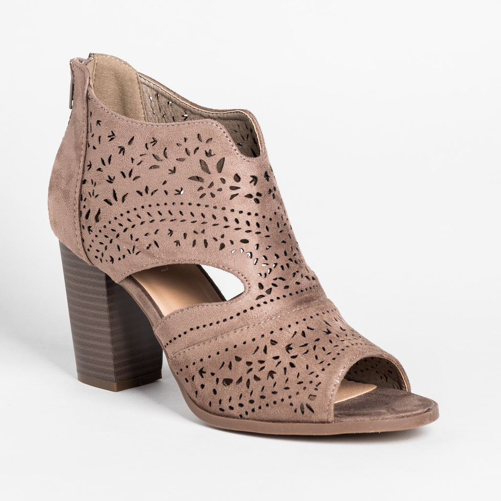 Womens Gorgeous Laser Cut Open-Toe Booties - Refresh - Taupe / 5