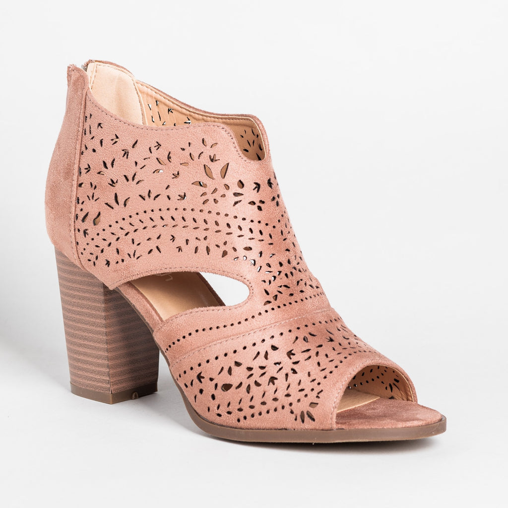 Womens Gorgeous Laser Cut Open-Toe Booties - Refresh - Mauve / 5