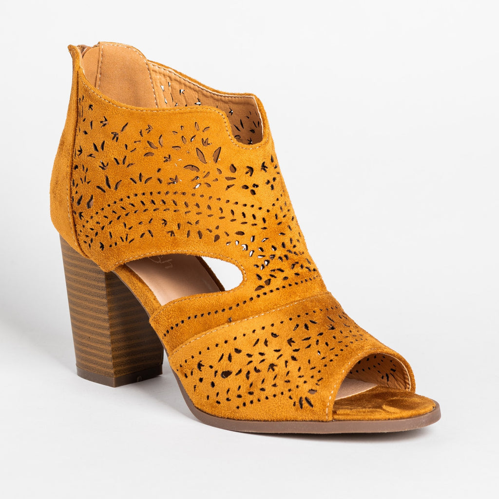Womens Gorgeous Laser Cut Open-Toe Booties - Refresh - Tan / 5