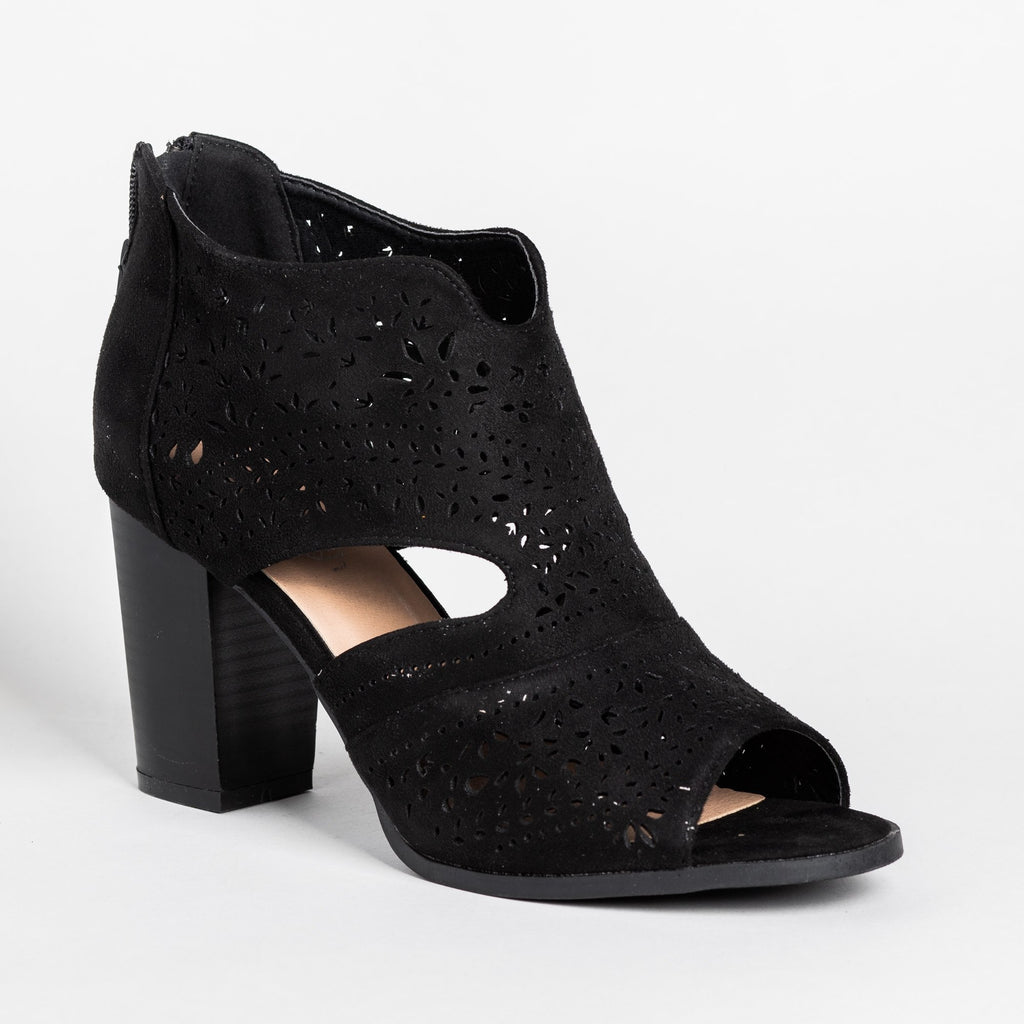 Womens Gorgeous Laser Cut Open-Toe Booties - Refresh - Black / 5