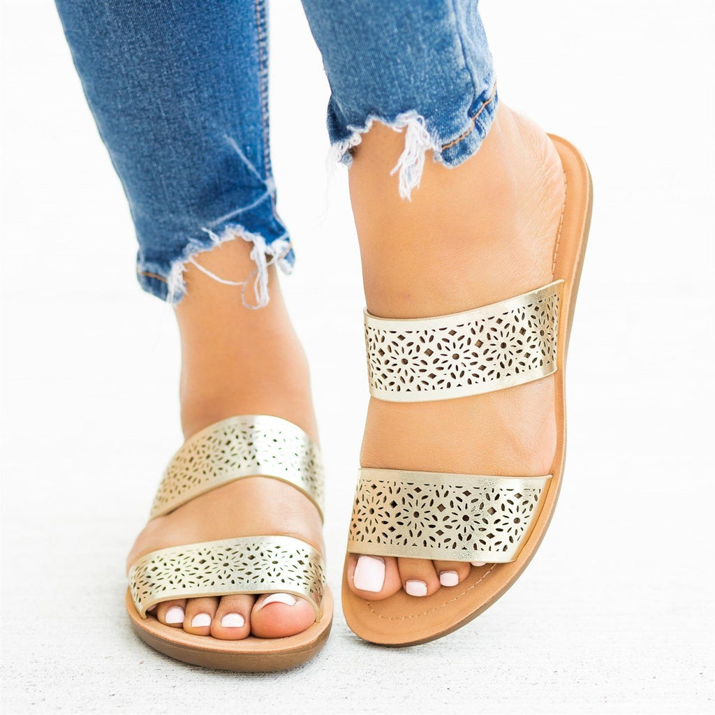 Womens Gorgeous Laser-Cut Summer Slides - Soda Shoes - Gold / 5