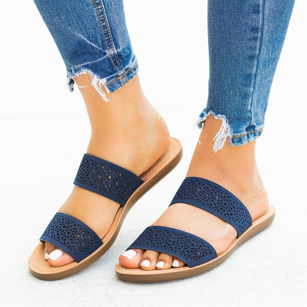 Womens Gorgeous Laser-Cut Summer Slides - Soda Shoes - Navy / 5