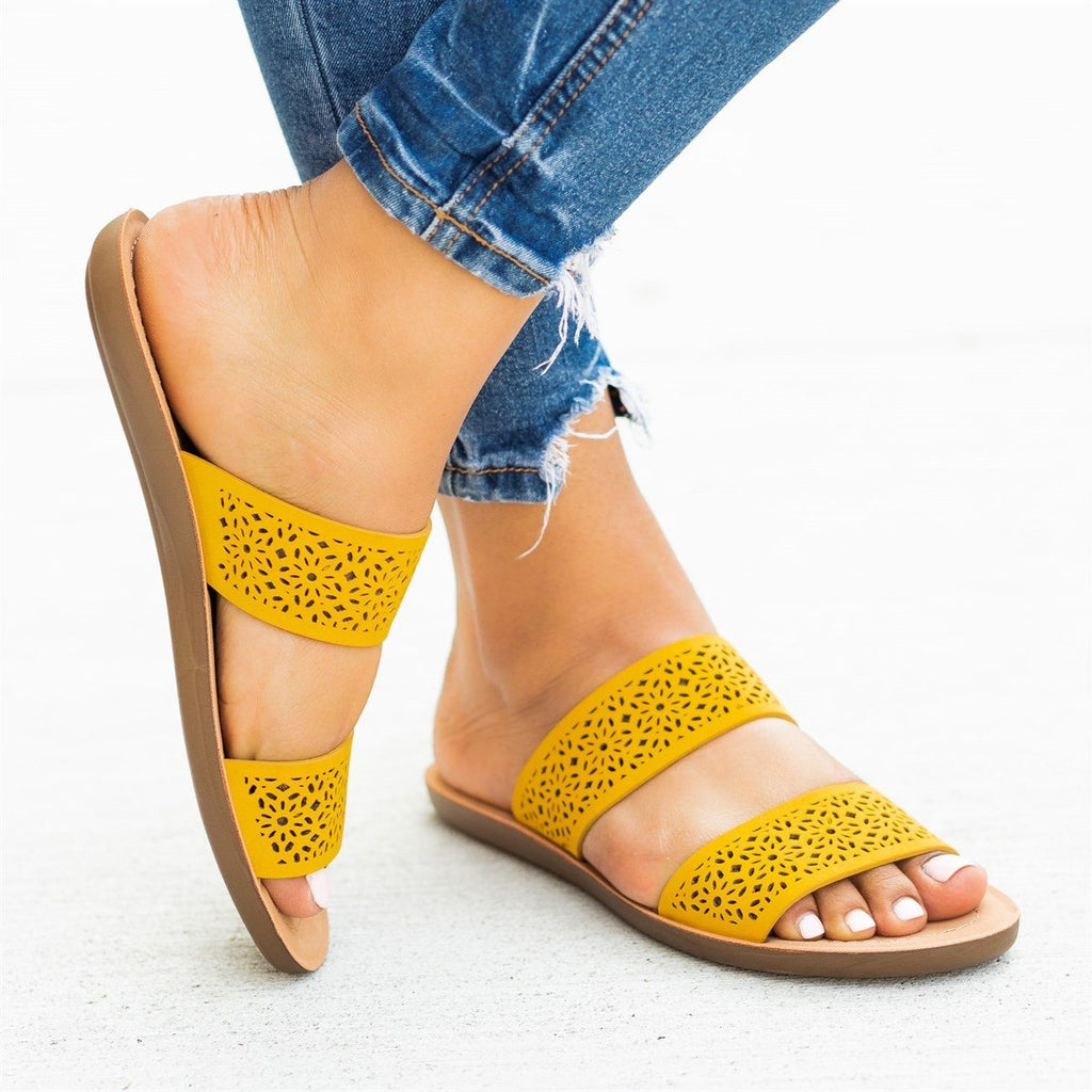 Womens Gorgeous Laser-Cut Summer Slides - Soda Shoes - Mustard / 5