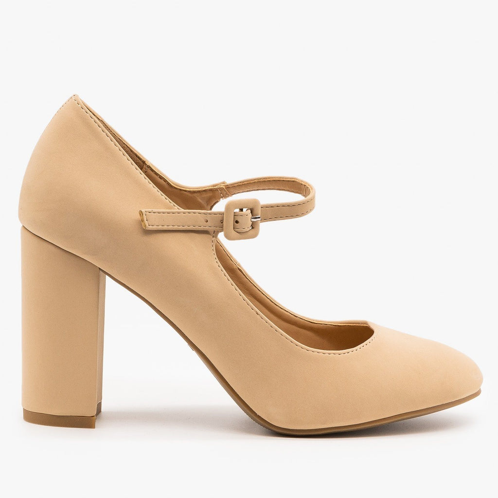 Womens Gorgeous Mary Jane High Heels - Bamboo Shoes - Nude / 5