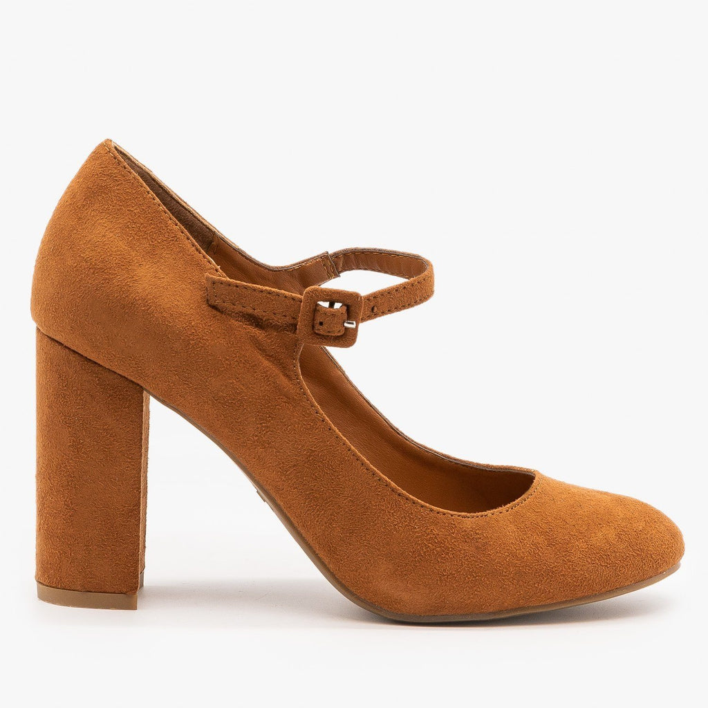 Womens Gorgeous Mary Jane High Heels - Bamboo Shoes - Dark Camel / 5