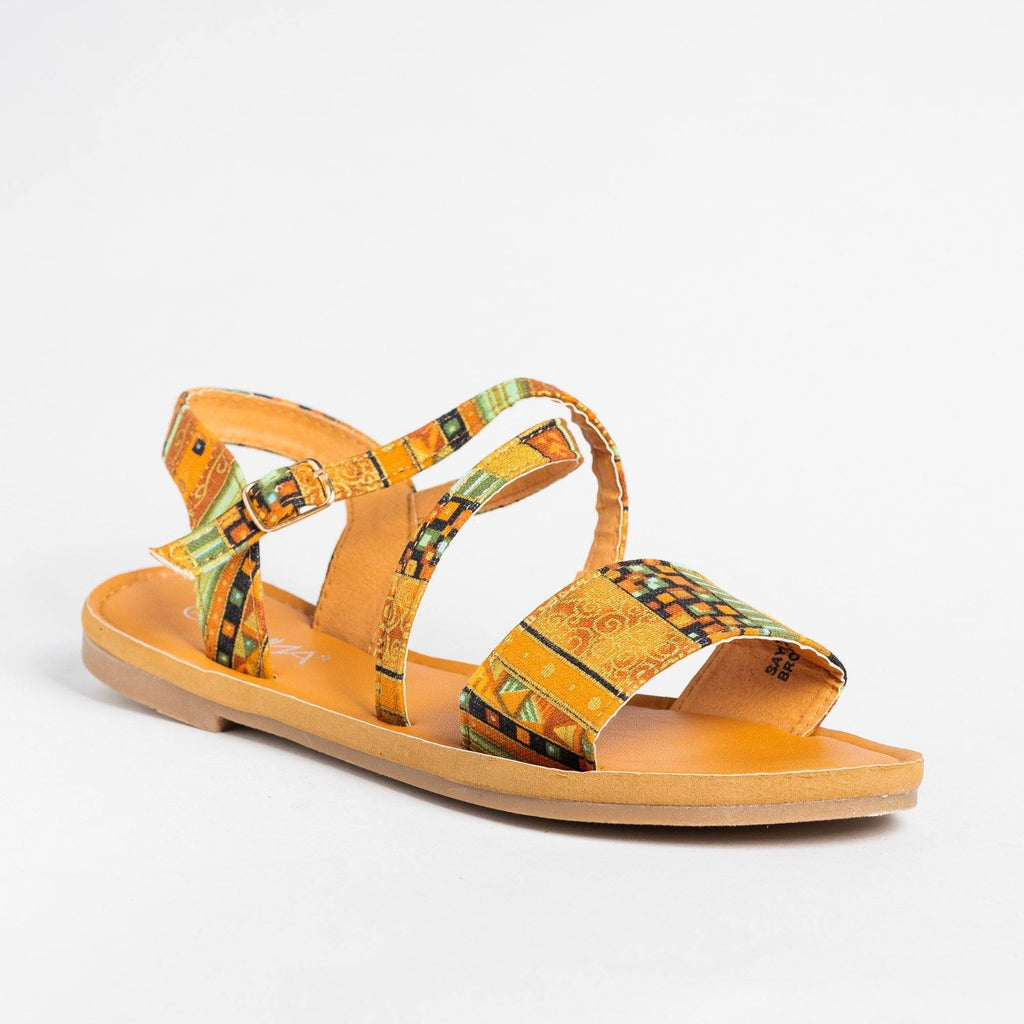 Womens Gorgeous Multi-Printed Sandals - Anna Shoes - Brown / 5