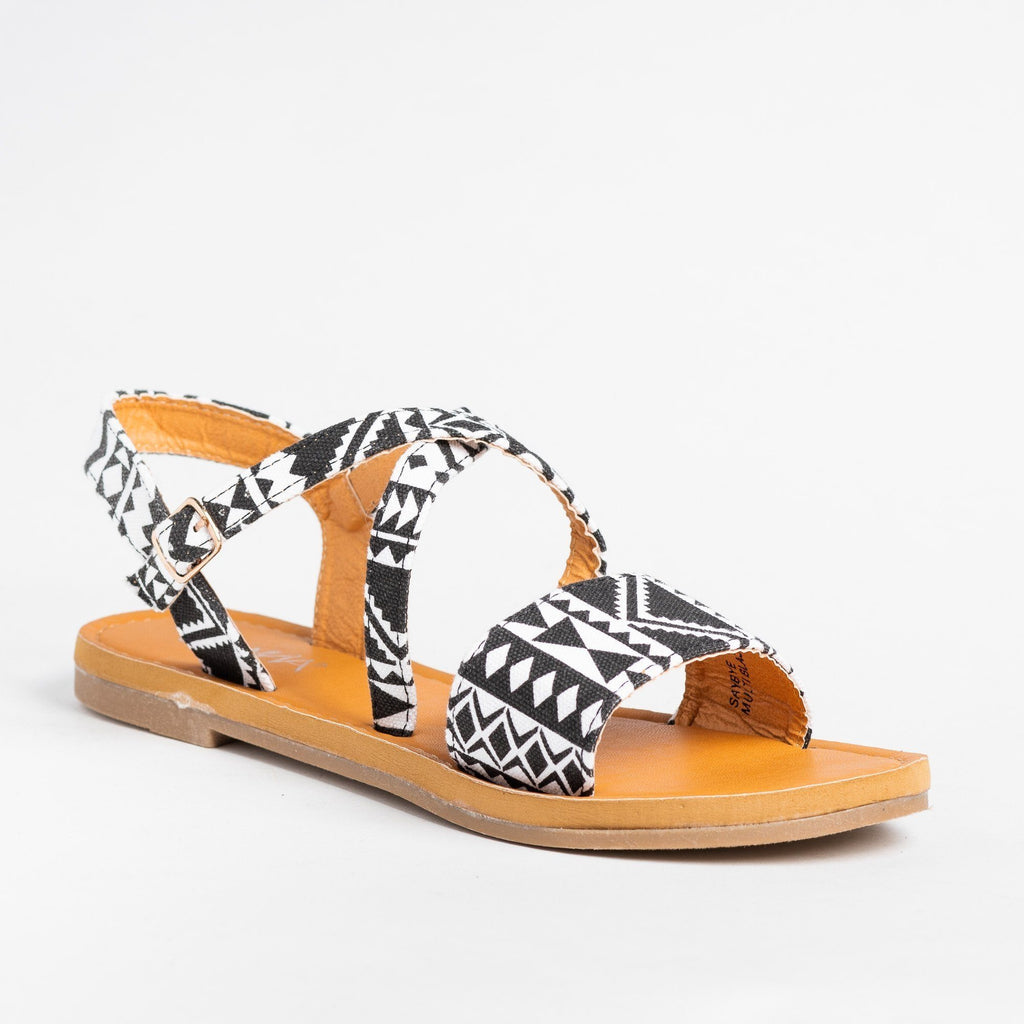 Womens Gorgeous Multi-Printed Sandals - Anna Shoes - Black Multi / 5