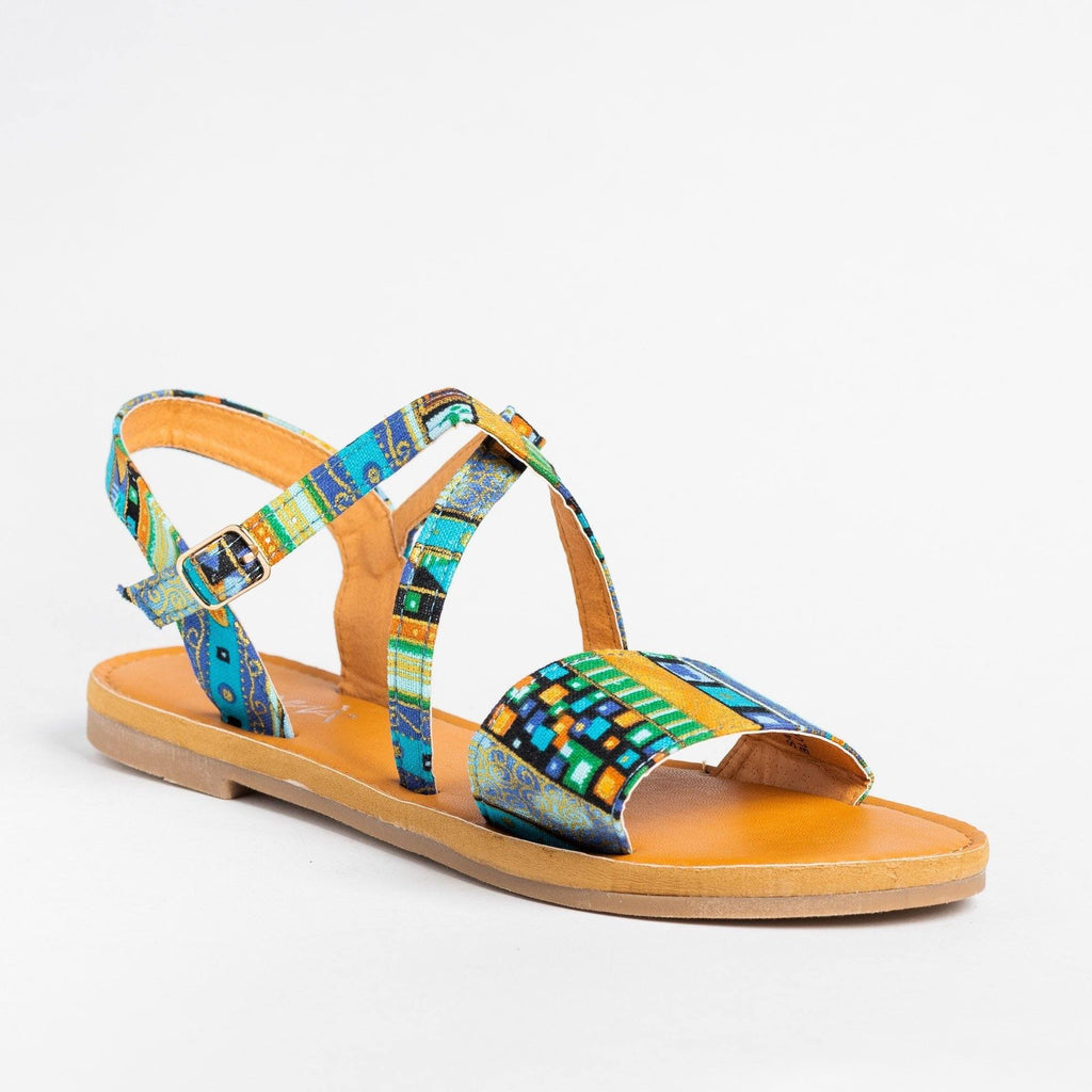 Womens Gorgeous Multi-Printed Sandals - Anna Shoes - Blue / 5