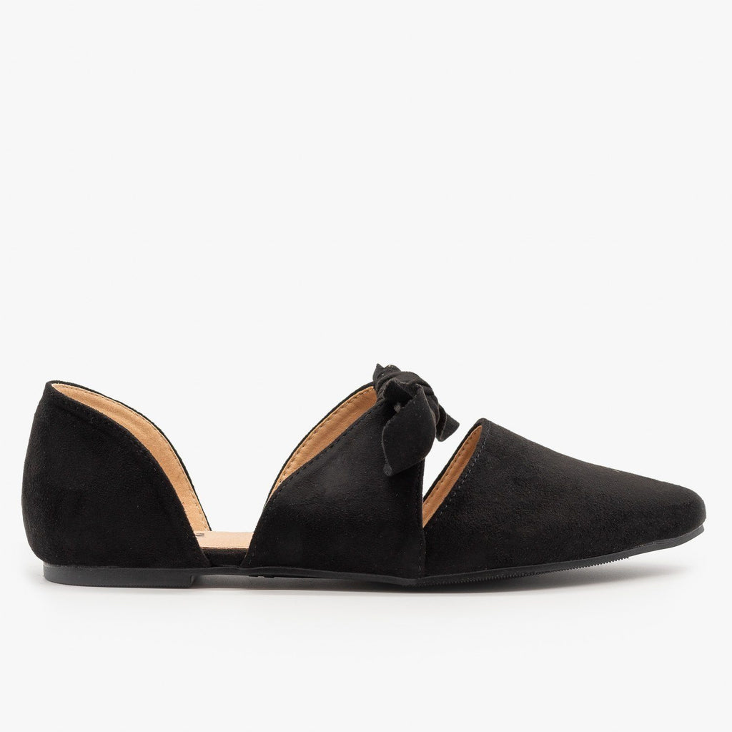Womens Gorgeous Pointed Toe Bow Flats - AMS Shoes - Black / 5