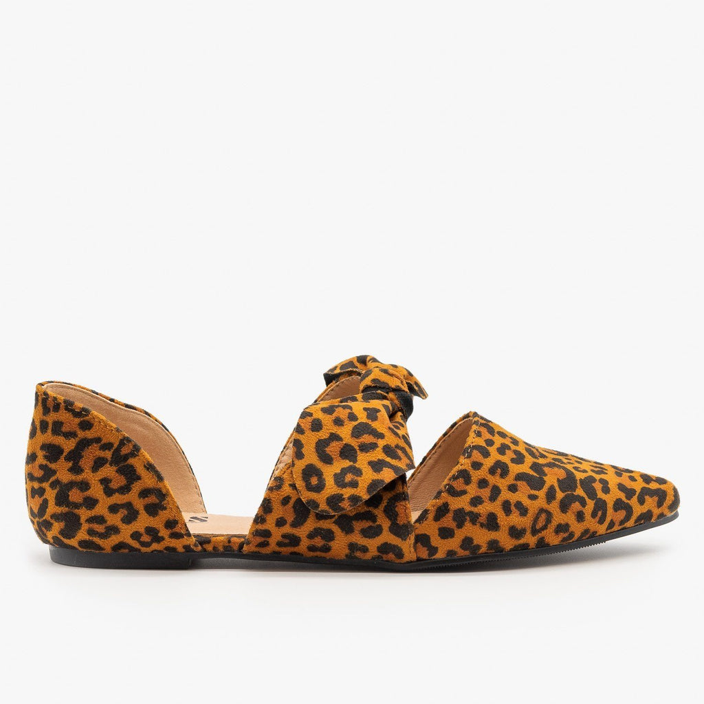 Womens Gorgeous Pointed Toe Bow Flats - AMS Shoes - Leopard / 5