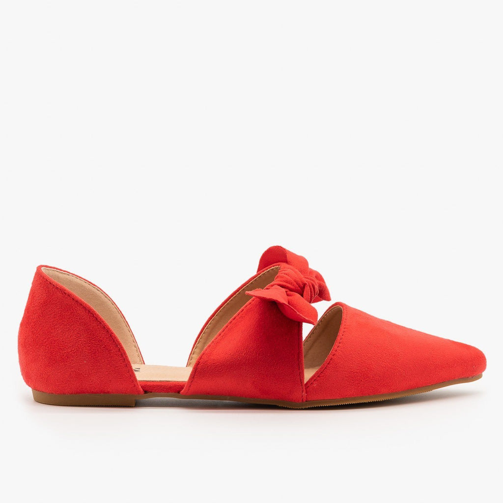 Womens Gorgeous Pointed Toe Bow Flats - AMS Shoes - Red / 5