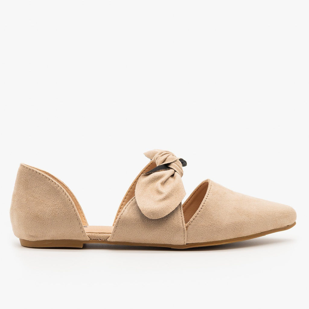 Womens Gorgeous Pointed Toe Bow Flats - AMS Shoes - Nude / 5