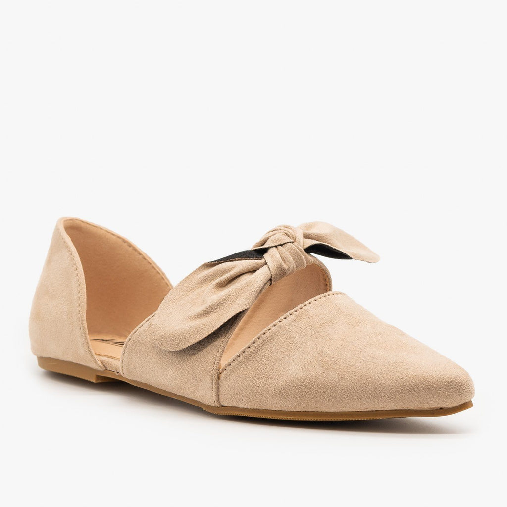 Womens Gorgeous Pointed Toe Bow Flats - AMS Shoes
