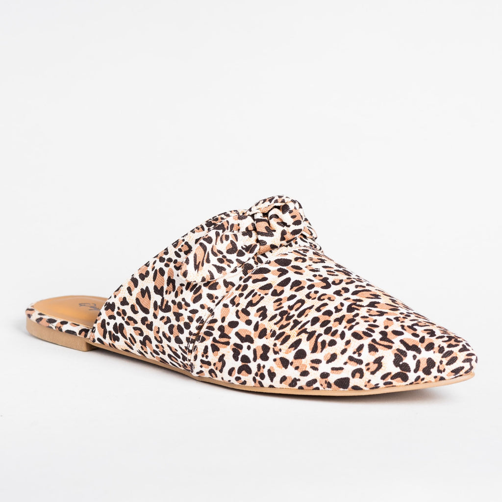 Womens Gorgeous Printed Bow Mule Flats - Qupid Shoes - Beige Leopard / 5
