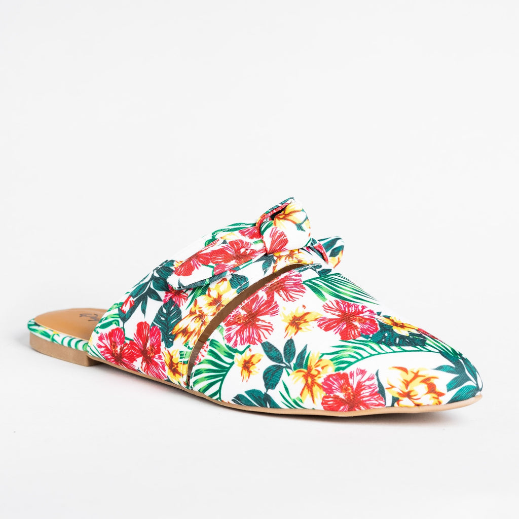 Womens Gorgeous Printed Bow Mule Flats - Qupid Shoes - White Multi / 5